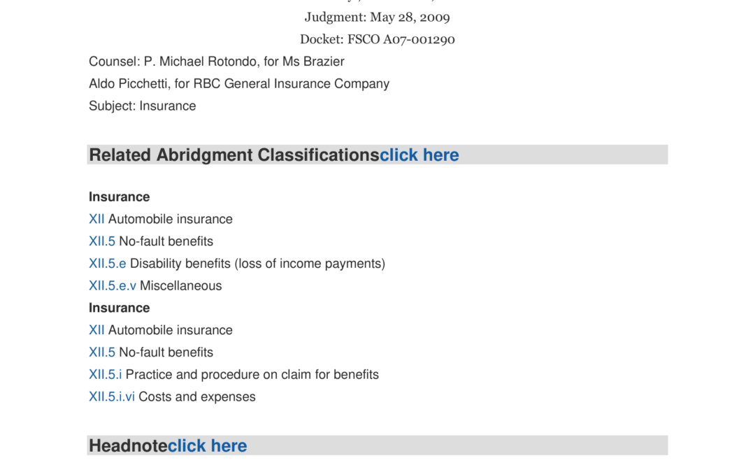 Brazier v. RBC General Insurance Co