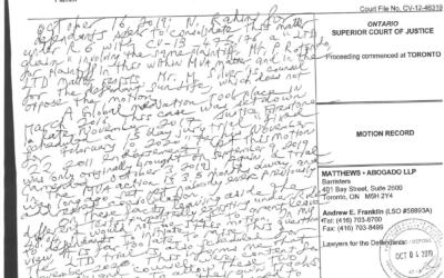 Kindness v. Varathalingham, Handwritten Endorsement