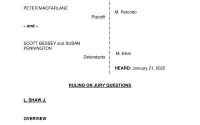 Macfarlane v. Bessey – CV-16-1820 Ruling on Jury Questions